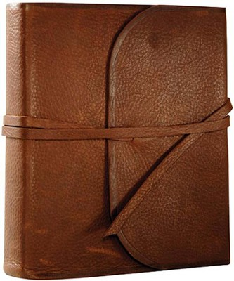 ESV 2-Column Journaling Bible, Natural Leather, Brown,  Flap With Strap  -