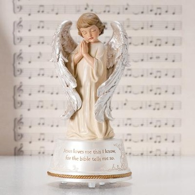 Jesus Loves Me Musical Angel Figurine  -