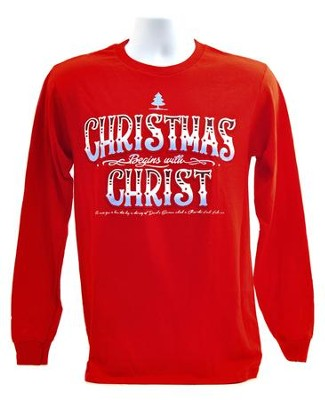 Christmas Begins With Christ, Long Sleeve Tee Shirt, Red, Medium  -