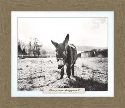 Beauty Means Being Yourself, Donkey Farm, Framed Art  -
