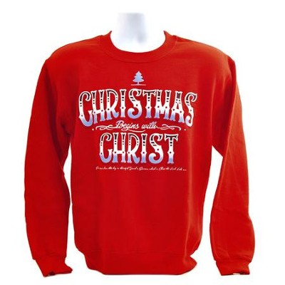 Christmas Begins With Christ, Crew Neck Sweatshirt, Red, X-Large  -