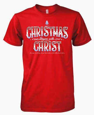Christmas Begins With Christ, Short Sleeve Tee Shirt, Red, Large  -