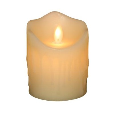 Flameless LED Candle, Ivory with Wax Dripping, 4 Inches  -