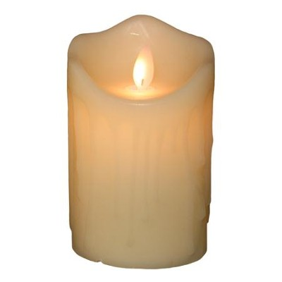 Flameless LED Candle, Ivory with Wax Dripping, 5 Inches  -
