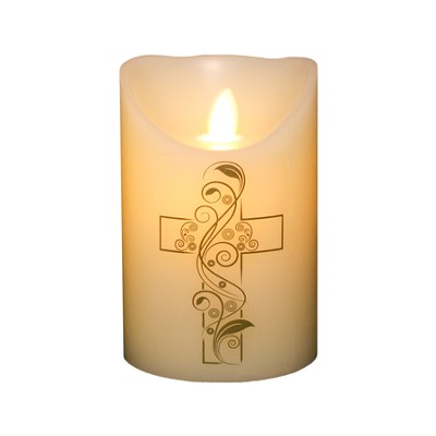 Flameless LED Candle, Ivory with Cross, 5 Inches  -