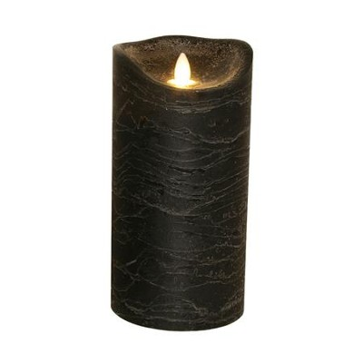 Flameless LED Candle, Black, 8 Inches  -