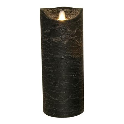 Flameless LED Candle, Black, 10 Inches  -