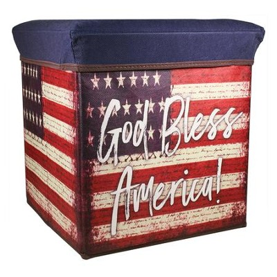 God Bless America, American Flag Collapsible Storage Box  -