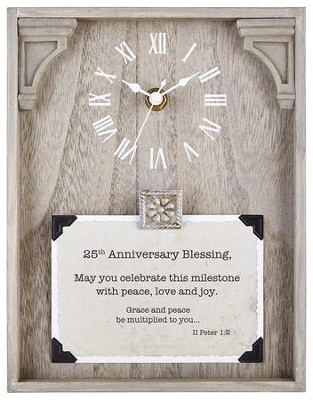 25th Anniversary Blessing, II Peter 1:2, Tabletop Clock  -     By: Lea Metts