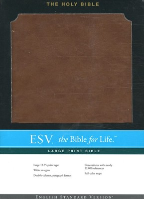 ESV Large-Print Bible--soft leather-look, brown  -