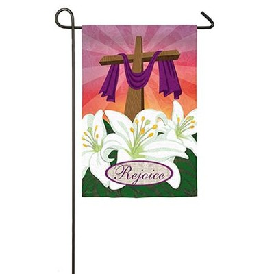 Rejoice, Cross and Lilies Suede Flag, Small  -