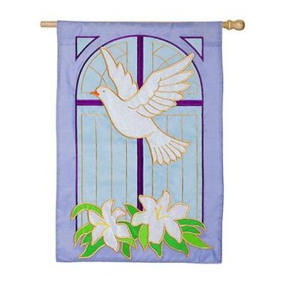 Dove on Cross Applique Flag, Large  -