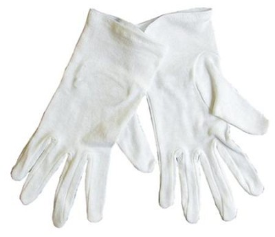 Gloves, White, Medium  -