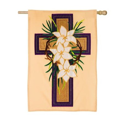 Easter Cross Applique Flag, Large  -