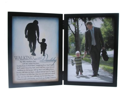 Walking with Daddy Double Tabletop Frame with Scripture  -