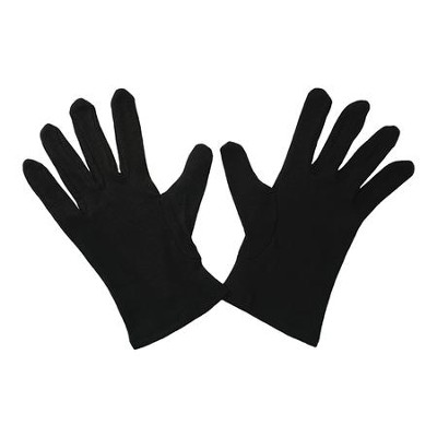 Gloves, Plain Black, Medium  -