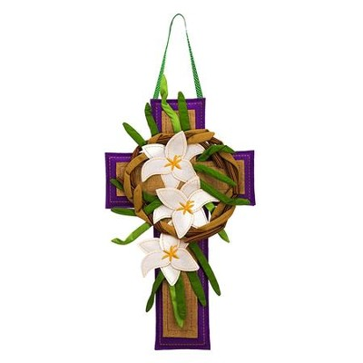 Easter Cross with Lilies, Burlap Door Hanger  -