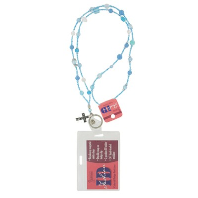 Badge Holder, Beaded, with Cross Charm, Turquoise  -
