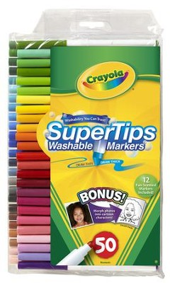 Crayola, Super Tips Washable Fine Line Markers, 50 Pieces  -