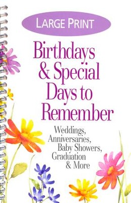 Birthdays and Special Days To Remember Date Book, Large Print  -
