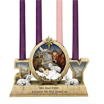 Babe with Animals Advent Candle Holder  -