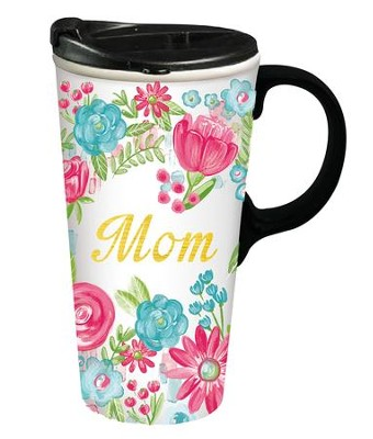 Mom, Ceramic Travel Mug  -