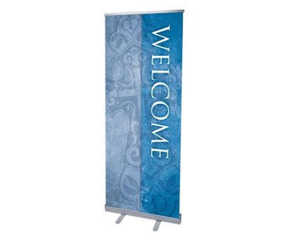 Cross Welcome (31 inch x 79 inch) RollUp Banner  -