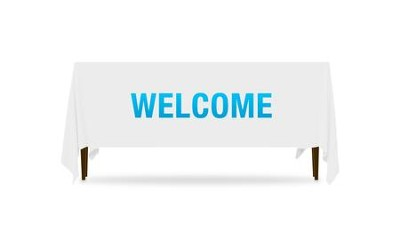 Block Letter Welcome Table Throw, 128 inches x 58 inches  -