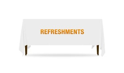 Block Letter Refreshments Table Throw, 128 inches x 58 inches  -