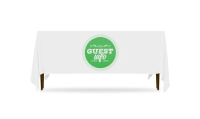 Guest Circles Info Green Table Throw, 128 inches x 58 inches  -