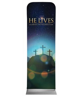 He Lives Crosses 2' x 6' Fabric Sleeve Banner  -