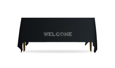 Chalk Welcome Table Throw, 128 inches x 58 inches  -
