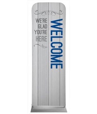 Painted Wood Welcome 2' x 6' Fabric Sleeve Banner  -