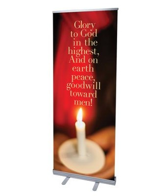 Glory to God Candle (31 inch x 79 inch) RollUp Banner  -