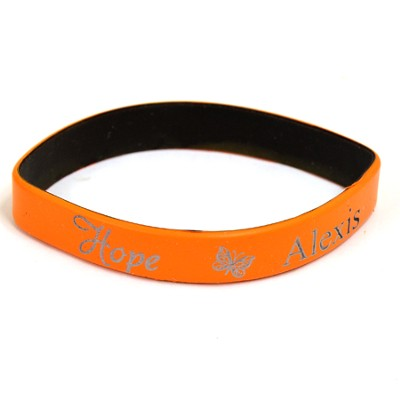 Personalized, Hope Wristband, With Name and Butterfly, Orange  -