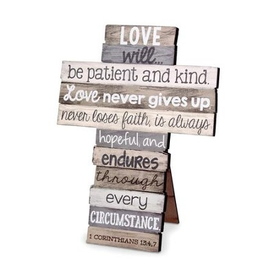 Love Stacked Words Cross, Small  -