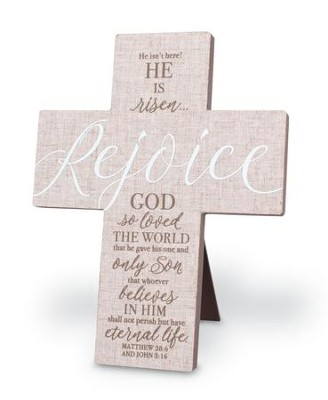 He Is Risen, Rejoice Linen Cross  -