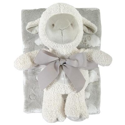 Lamb Blanket and Toy Set, Gray  -