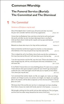 Common Worship: Committal & Dismissal Card (Burial)   -