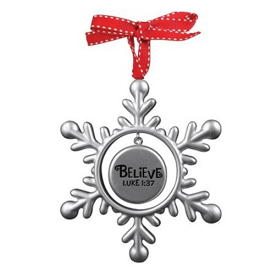 Believe (Luke 1:37), Snowflake Ornament  -