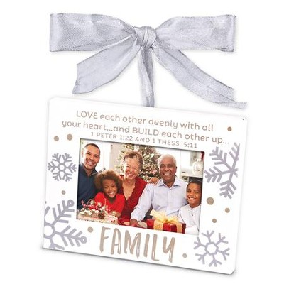 Family, Photo Frame Ornament, White  -