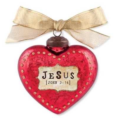 Jesus, Heart Ornament, Red  -
