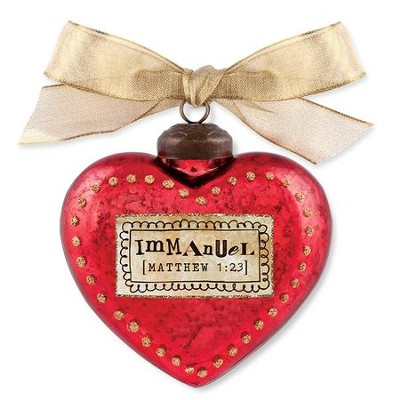 Immanuel, Heart Ornament, Red  -