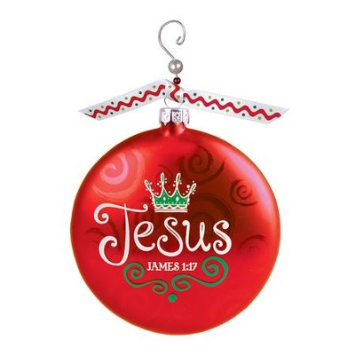 Jesus (James 1:17), Glass Ornament With Swirl  -