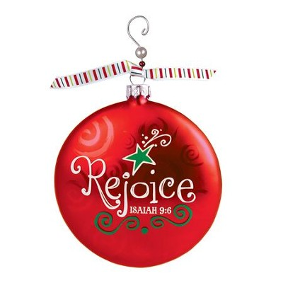 Rejoice (Isaiah 9:6), Glass Ornament With Swirl  -
