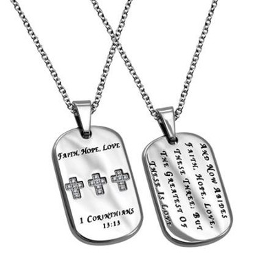 Faith, Hope, Love, Calvary Dog Tag   -