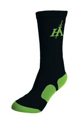 His Armor Sport Socks, Black and Lime Green  -