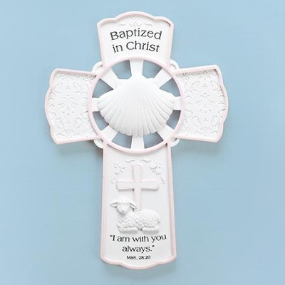 Baptized In Christ Wall Cross, Pink  -