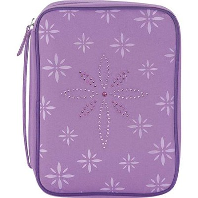 Bedazzled Cross Bible Cover, Purple, Large  -
