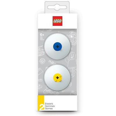 LEGO Erasers, Blue & Yellow, Pack of 2  -